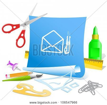 open mail with knife. Paper template. Raster illustration.