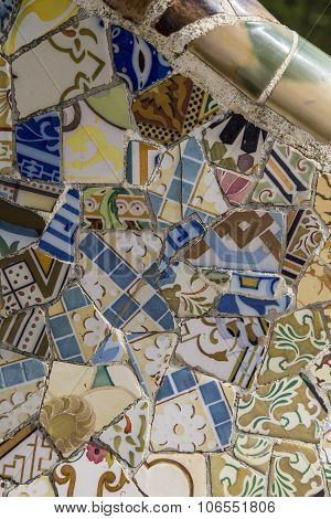 mosaic at Park Guell, Barcelona, Spain