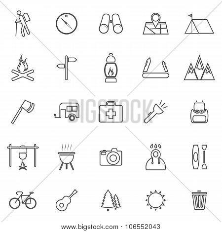 Trekking Line Icons On White Background