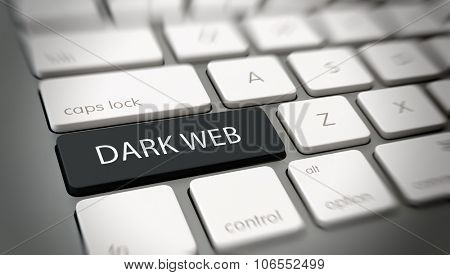 Dark Web concept for inaccessible web addresses with white text - Dark Web - on a black enter key on a white computer keyboard viewed at a high angle with blur vignette for focus. 3d Rendering.