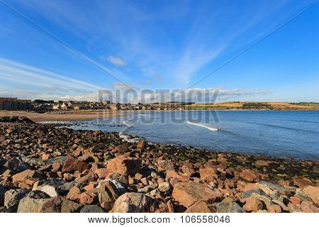 Rock And Beach At Stonehaven Bay On Ssunny Day, Aberdeenshire, Scotland, Uk