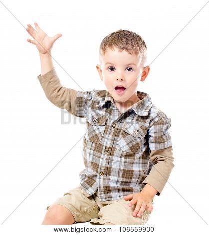 Portrait of a cute boy sitting with raised hand