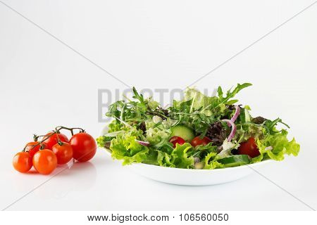 Organic Meal, Fresh Salad In A Plate Isolated