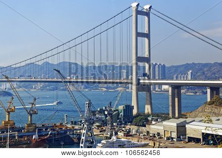 Tsing Ma Bridge, landmark bridge in Hong Kong