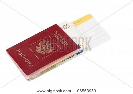 Airline tickets and travel passport of russia over white background poster