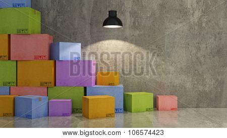 cartons of colors in empty room