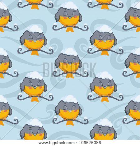 Bird tomtit vector seamless pattern. Winter background.