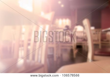 Abstract Blur Background Of Restaurant In The Shopping Mall, Vintage Toning