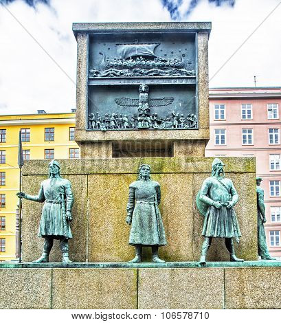 Monument in memory of sailors from viking times to the 20th century - Bergen Norway. poster