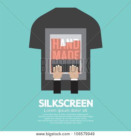 Worker Do Silkscreening On T-shirt.
