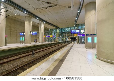 COLOGNE, GERMANY - SEPTEMBER 20, 2014: interior of Cologne Bonn Airport. Cologne Bonn Airport is the international airport of Cologne and also serves the former German capital, Bonn.