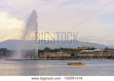 GENEVA, SWITZERLAND - SEPTEMBER 14, 2014: Jet d'Eau at day. The Jet d'Eau is a large fountain in Geneva, Switzerland, and is one of the city's most famous landmarks