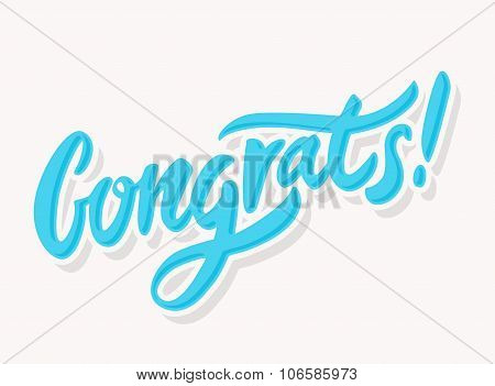 Congrats. Congratulations greeting card. Hand lettering. Vector illustration. poster