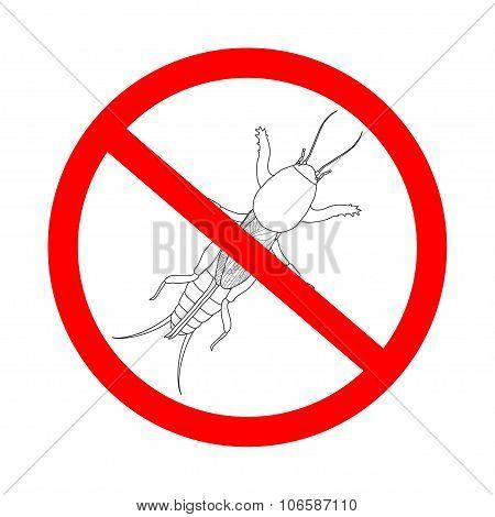 Prohibition Sign  Gryllotalpidae.  European Mole Cricket. Gryllotalpa. Sketch Of Mole Cricket  Mole