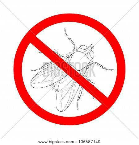 Prohibition Sign Fly. Musca Domestica..  Insect. A Realistic Fly. Fly Silhouette. Fly Isolated  On W