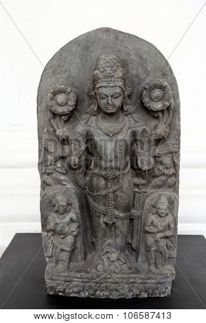 KOLKATA, INDIA - FEBRUARY 15:  Composite image of Surya, from 10th century found in Basalt, Bihar now exposed in the Indian Museum in Kolkata, on February 15, 2014