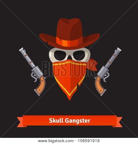 Skull gangster in stetson hat with revolver guns