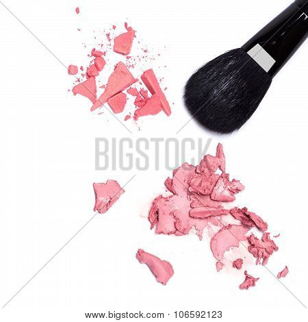 Different types of blushes. Close-up of crushed compact and smeared cream blushes with black makeup brush on white background poster