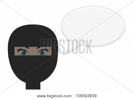 Girl In Burqa With Speech Bubble