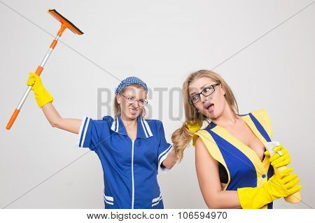 two different cleaners compete. poor staff. terrible team poster