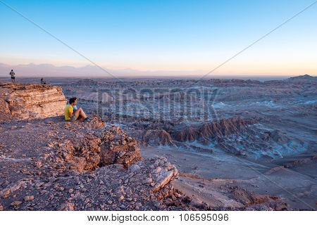 Tourists Make Pictures In The Atacama Desert, Chile