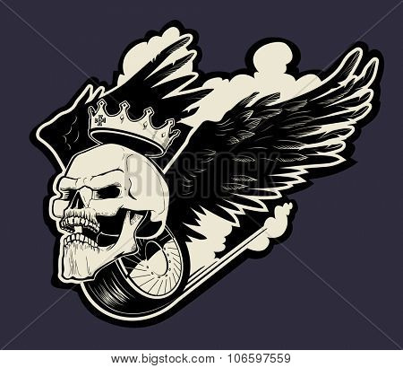 Vector biker emblem with skull and wings