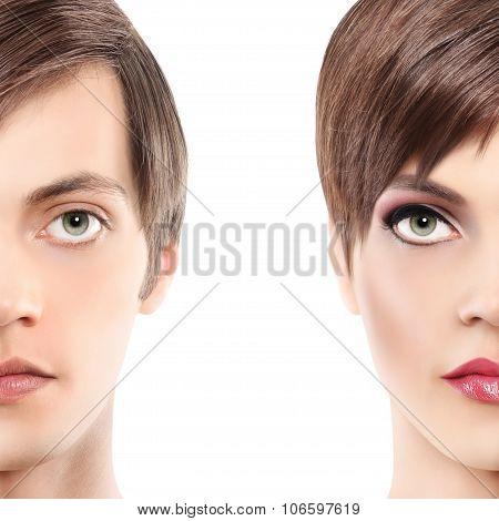 Portrait Half Woman Half Man, Androgyny Concept