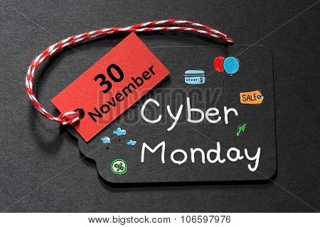 Cyber Monday November 30 Text On A Black Tag