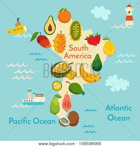 Fruit world map South America