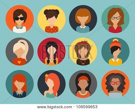 Circle of flat icons. Woman vector illustration web userpic