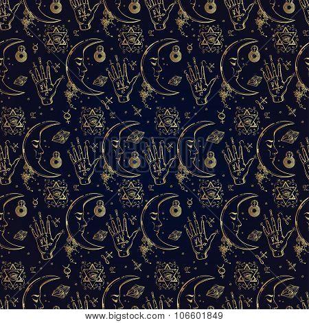 Alchemy and magic seamless pattern.