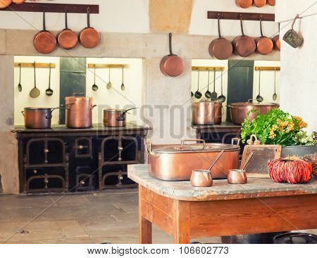 Kitchen interior with vintage kitchenware