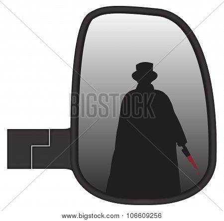 Jack The Ripper In Truck Side Mirror
