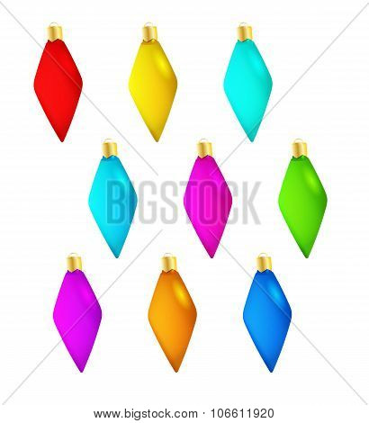spiked nine christmas balls with different color isolated poster