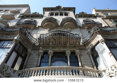 Old beautiful architecture at famous Passeig de Gracia (Eixample district) Barcelona (Spain) poster