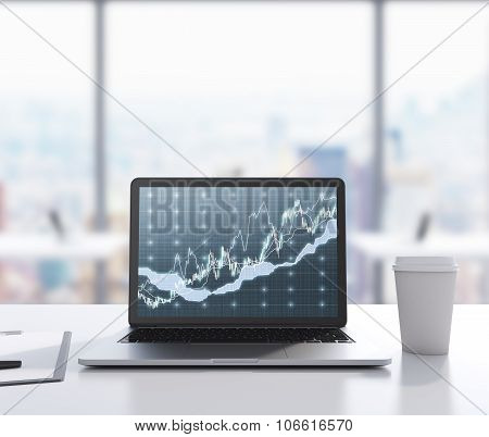 There Are A Laptop With Forex Chart On The Screen, Legal Pad And A Cup Of Coffee On The Table. 3D Re