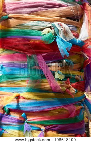 Colorful Fabric Wrap The Tree With Faith