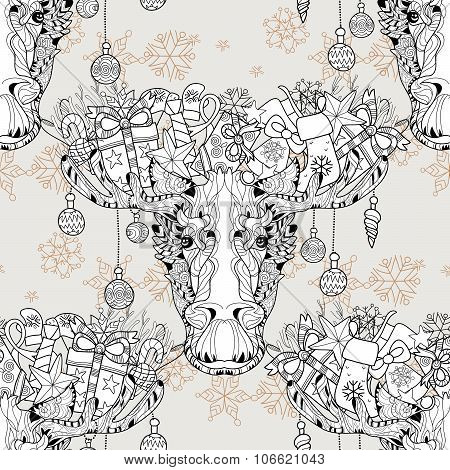 Christmas Head Elk Seamless Pattern Vector