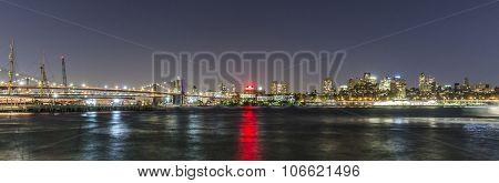 Skyline Of Brooklyn With Brooklyn And Manhattan Bridge  By Night