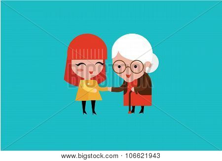 young volunteer woman caring for elderly woman