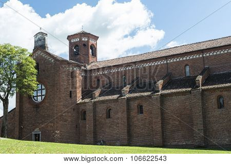 Exterior of the medieval abbey of Morimondo (Milan Lombardy Italy) poster