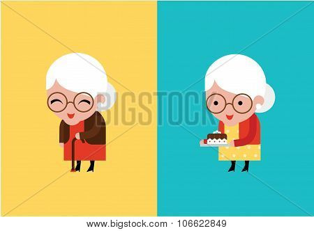 grandmother vector illustration