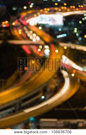 Abstract blurred bokeh highway intersection aerial view