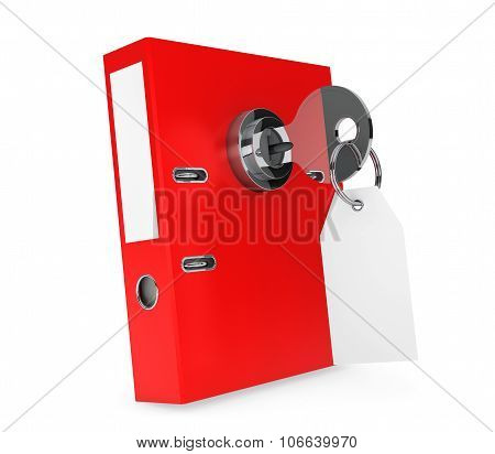 Achive Office Binder with Key Lock and Blank Tag on a white background poster