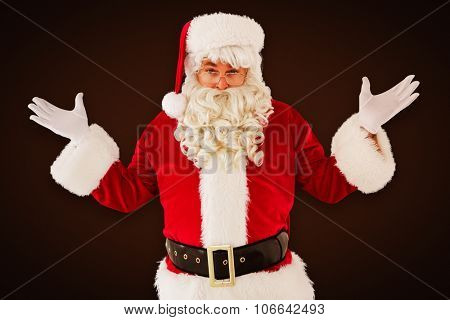 Portrait of perplexed santa against white background with vignette