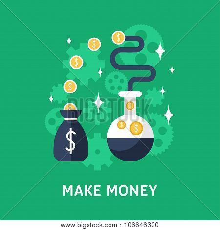 Flat Design Vector Business Illustration. Make Money