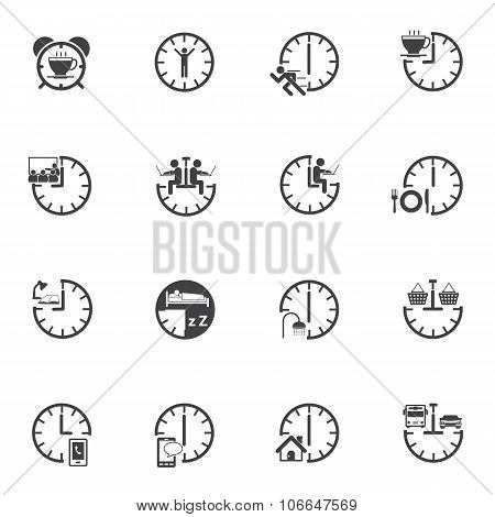 Time, Daily Routine. Business icons set for internet marketing and services.