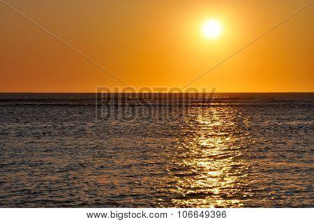 Orange Sunset Indian Ocean View over Hangover Bay in Western Australia. poster