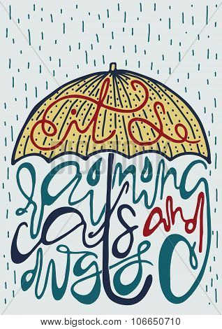 Poster with silhouette of umbrella and lettering