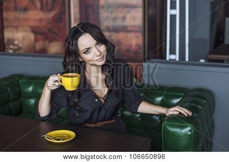 Beautiful Woman Drinking Hot Drink